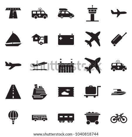 Solid black vector icon set - home delivery vector, mine trolley, battery, plane, air balloon, sail boat, yacht, cruiser, passenger wagon, car baggage, bus, ticket, airport tower, wheel suitcase