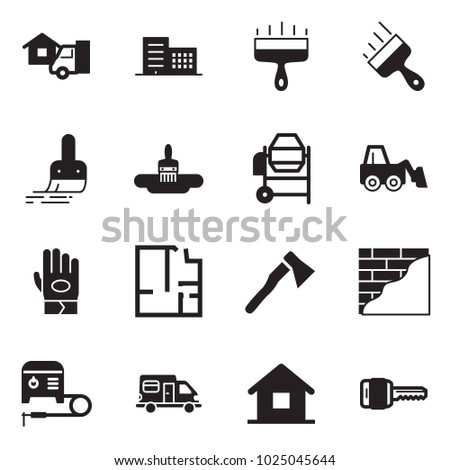 Solid black vector icon set - home delivery vector, office building, wide putty knife, brush, concrete mixer, loader, work glove, plan, axe, wall plastering, welding machine, camper, key