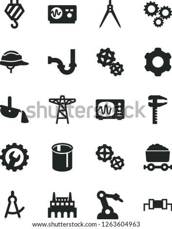Solid Black Vector Icon Set - hook vector, gears, cogwheel, sewerage, helmet, gear, power pole, industrial factory, pipes, robot welder, calipers, steel production, trolley with coal, three