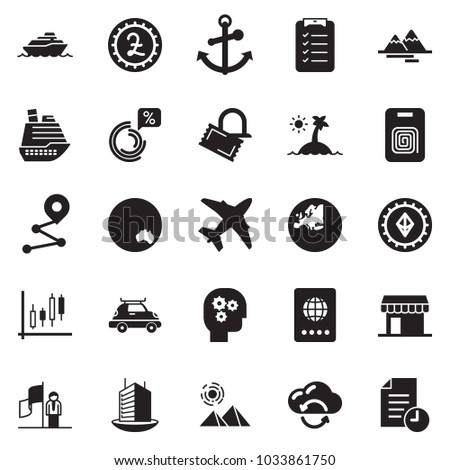 Solid black vector icon set - identity vector, check list, gear head, success, Japanese candles, circle chart, office building, pound sign, etherium, cloud exchange, plane, cruiser, car baggage