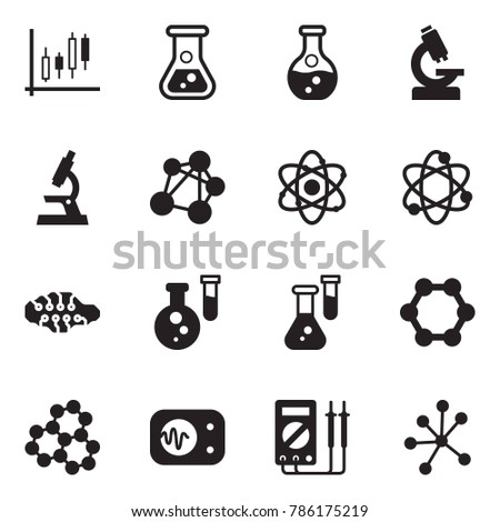 Solid black vector icon set - Japanese candles vector, flask, microscope, molecule, atom, neural network, measurement