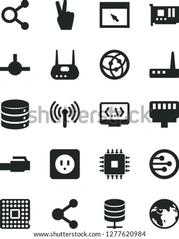 Solid Black Vector Icon Set - power socket type b vector, big data, server, processor, connection, connections, cpu, pc card, router, network, browser, connect, coding, lan connector, wireless