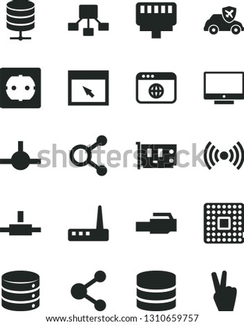 Solid Black Vector Icon Set - power socket type f vector, screen, big data, server, autopilot, processor, connection, connections, hierarchical scheme, pc card, router, browser, connect, wireless