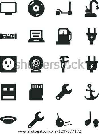 Solid Black Vector Icon Set - repair key vector, laptop, Kick scooter, building level, kitchen faucet, core, anchor, lens, plate, gas station, plug, electric, socket, caliper, monitor, usb, cd, golf