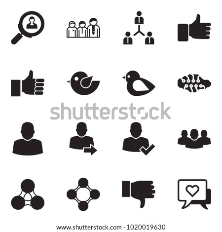 Solid black vector icon set - search employer vector, team, finger up, bird, neural network, user, login, check, group, social, friends, dislike, heart message