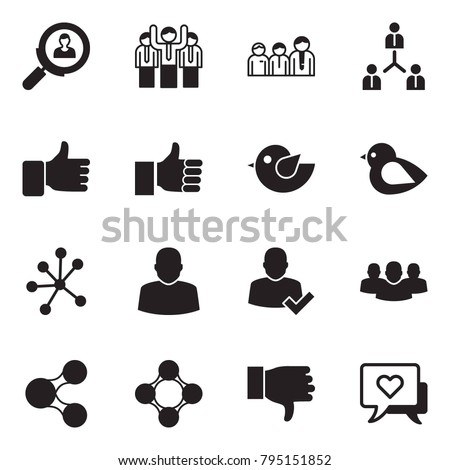 Solid black vector icon set - search employer vector, team, finger up, bird, neural network, user, check, group, share, friends, dislike, heart message