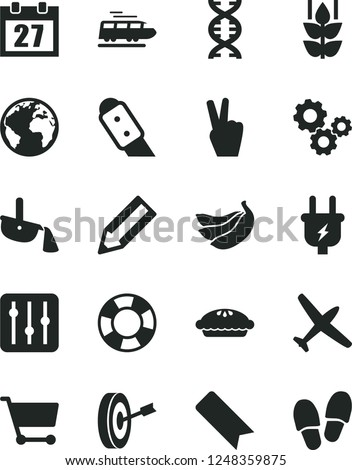 Solid Black Vector Icon Set - sign of the planet vector, daily calendar, bookmark, knife, regulator, pie, mint, bananas, plug, steel production, cart, gears, pencil, dna, purpose, victory hand
