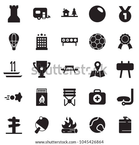 Solid black vector icon set - soccer vector, tennis, ball, paintball, matches, fire, stool, horse, ski, medal, cup, biathlon, hotel, balloon, picnic, chalet, diving, trailer, street sign, map, flask