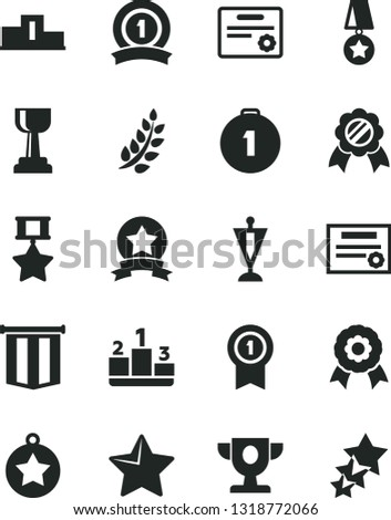 Solid Black Vector Icon Set - star vector, pedestal, medal, patente, laurel branch, prize, gold cup, pennant, first place, with, ribbon, hero, certificate, flag, three stars