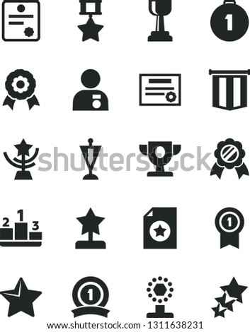 Solid Black Vector Icon Set - star vector, pedestal, medal, patente, prize, cup, gold, reward, man with, pennant, first place, ribbon, hero, certificate, flag, three stars