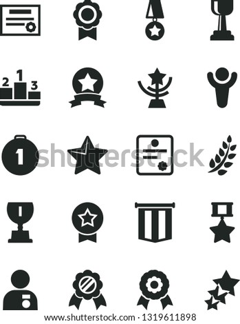 Solid Black Vector Icon Set - star vector, pedestal, medal, patente, winner, laurel branch, award, gold cup, man with, first place, hero, ribbon, pennant flag, three stars