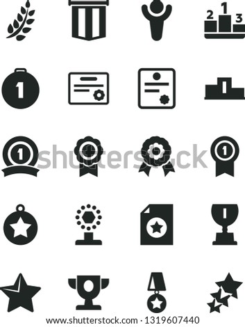 Solid Black Vector Icon Set - star vector, pedestal, medal, patente, winner, laurel branch, prize, award, cup, first place, with pennant, ribbon, certificate, flag, three stars