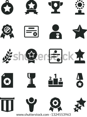 Solid Black Vector Icon Set - star vector, pedestal, medal, patente, winner, laurel branch, prize, cup, gold, reward, man with, ribbon, certificate, pennant flag, three stars