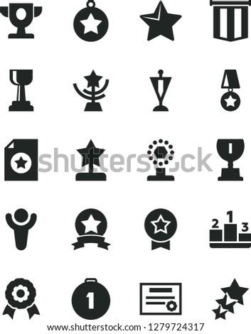 Solid Black Vector Icon Set - star vector, pedestal, medal, patente, winner, prize, award, cup, gold, reward, pennant, first place, ribbon, certificate, flag, three stars