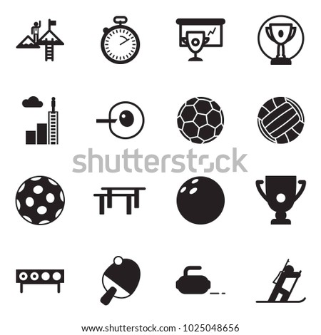 Solid black vector icon set - success vector, stopwatch, cup presentation, award, career ladder, insemination, soccer, volleyball, golf, beams, bowling, biathlon, ping pong, curling