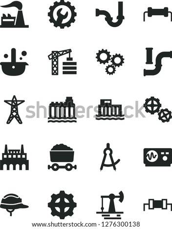 Solid Black Vector Icon Set - tower crane vector, gears, sewerage, helmet, gear, working oil derrick, water pipes, factory, hydroelectric station, hydroelectricity, power line, industrial, three