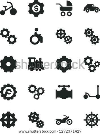 Solid Black Vector Icon Set - truck lorry vector, baby carriage, children's train, tricycle, Kick scooter, gears, cogwheel, star gear, valve, retro car, three, dollar, motorcycle, disabled