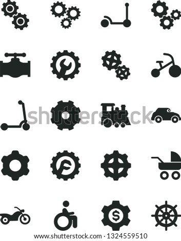 Solid Black Vector Icon Set - truck lorry vector, baby carriage, children's train, tricycle, Kick scooter, child, cogwheel, gear, star, valve, gears, retro car, three, dollar, motorcycle, disabled
