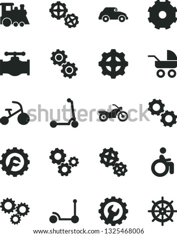 Solid Black Vector Icon Set - truck lorry vector, baby carriage, children's train, tricycle, Kick scooter, child, gears, gear, star, valve, retro car, three, motorcycle, disabled, handwheel