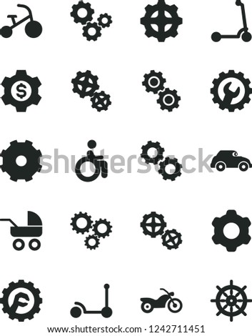 Solid Black Vector Icon Set - truck lorry vector, baby carriage, tricycle, Kick scooter, child, gears, cogwheel, gear, star, retro car, three, dollar, motorcycle, disabled, handwheel