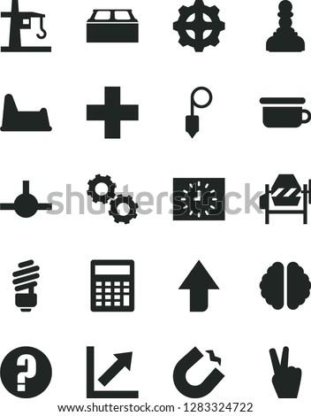 Solid Black Vector Icon Set - upward direction vector, plus, calculator, growth chart, question, children's potty, chair, concrete mixer, saving light bulb, building block, plummet, gear, connect