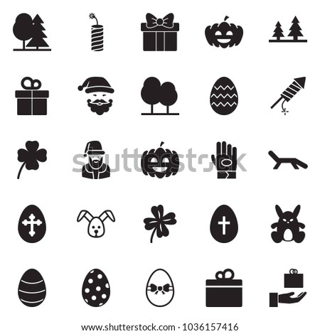 Solid black vector icon set - work glove vector, rabbit, easter egg, santa, clover, pumpkin, firework, forest, lounger, gift