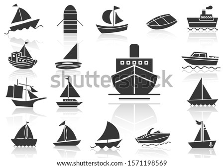 solid icons set, transportation, Boat and shadow, vector illustrations