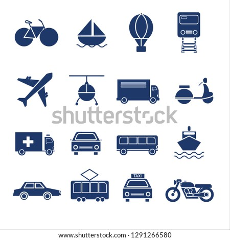SOLID Transportation icon set vector  #1291266580