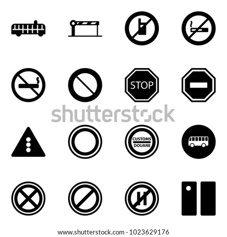 Solid vector icon set - airport bus vector, barrier, no mobile sign, smoking, prohibition road, stop, way, traffic light, customs, parking, even, pause