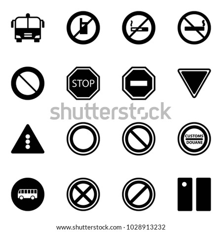 Solid vector icon set - airport bus vector, no mobile sign, smoking, prohibition road, stop, way, giving, traffic light, customs, parking, pause
