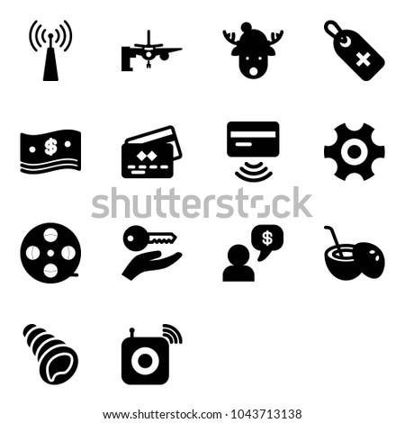 solid vector icon set   antenna