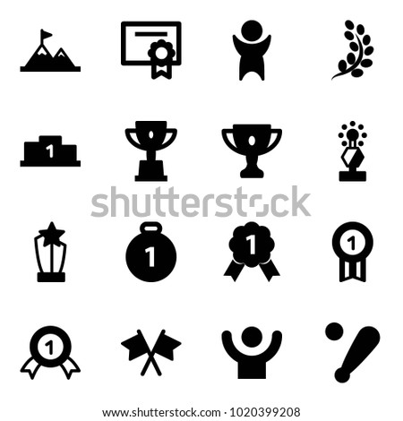 Solid vector icon set - attainment vector, certificate, success, golden branch, pedestal, win cup, gold, award, medal, flags cross, baseball bat
