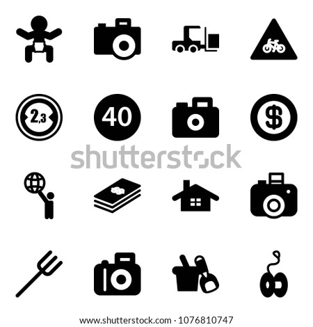 Solid vector icon set - baby vector, camera, fork loader, road for moto sign, limited width, minimal speed limit, dollar, world, home, farm, shovel bucket, yoyo