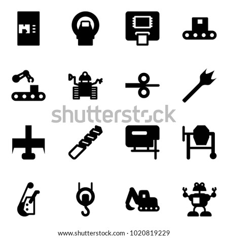Solid vector icon set - coffee machine vector, mri, atm, conveyor, robot, steel rolling, wood drill, milling cutter, jig saw, cocncrete mixer, winch, excavator toy