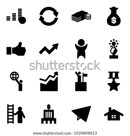 Solid vector icon set - coin vector, exchange, cash, money bag, like, growth arrow, success, award, world, win, star medal, opportunity, bank building, paper fly, home