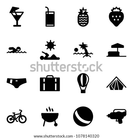 Solid vector icon set - drink vector, pineapple, strawberry, swimming, reading, palm, inflatable pool, swimsuit, suitcase, air balloon, tent, bike, grill, ball, water gun