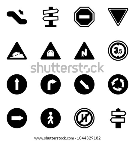 Solid vector icon set - escalator down vector, road signpost sign, no way, giving, climb, tunnel, abrupt turn right, limited height, only forward, detour, circle, pedestrian, parking even