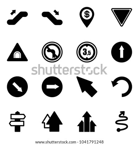 Solid vector icon set - escalator up vector, down, dollar pin, giving way road sign, tunnel, no left turn, limited height, only forward, detour, right, cursor, undo, signpost, arrow, arrows, trip
