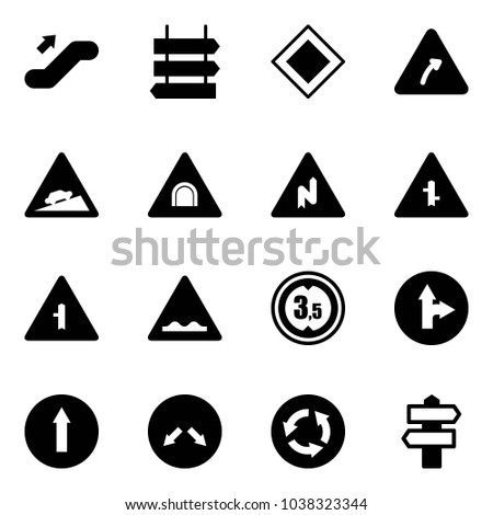 Solid vector icon set - escalator up vector, sign post, main road, turn right, climb, tunnel, abrupt, intersection, rough, limited height, only forward, detour, circle, signpost