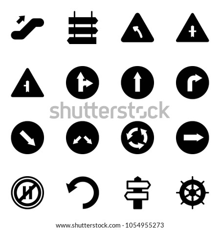 Solid vector icon set - escalator up vector, sign post, turn left road, intersection, only forward right, detour, circle, no parking even, undo, signpost, hand wheel