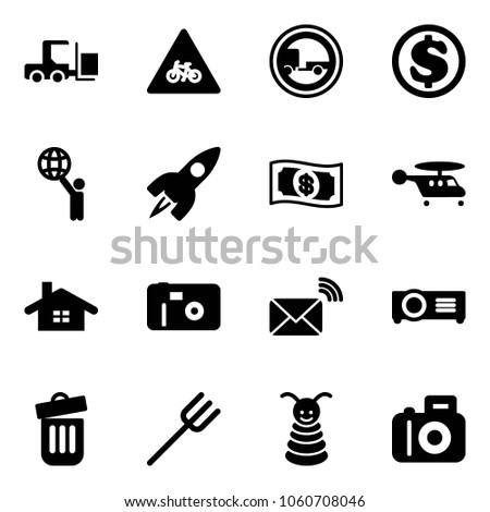 Solid vector icon set - fork loader vector, road for moto sign, no trailer, dollar, world, rocket, money, helicopter, home, photo, wireless mail, projector, trash bin, farm, pyramid toy, camera