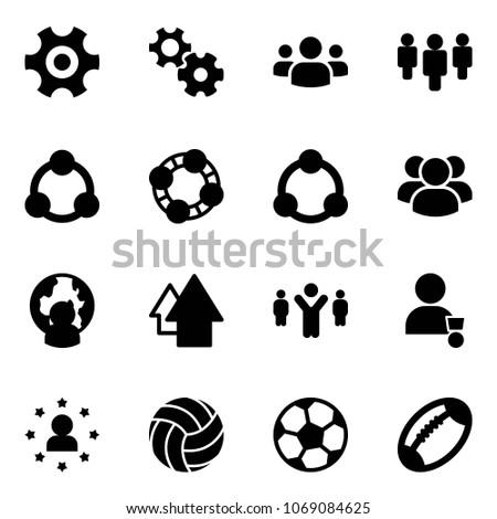 Solid vector icon set - gear vector, group, social, friends, community, man globe, arrow up, team leader, winner, star, volleyball, soccer ball, football