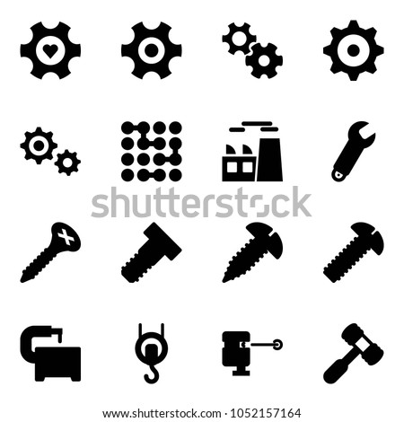 Solid vector icon set - heart gear vector, circuit, plant, wrench, screw, bolt, machine tool, winch, laser lever, toy hammer