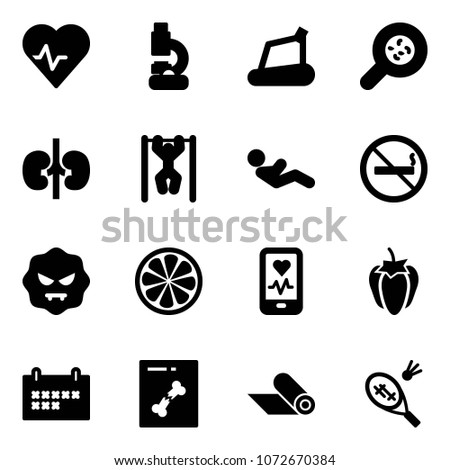 solid vector icon set   heart