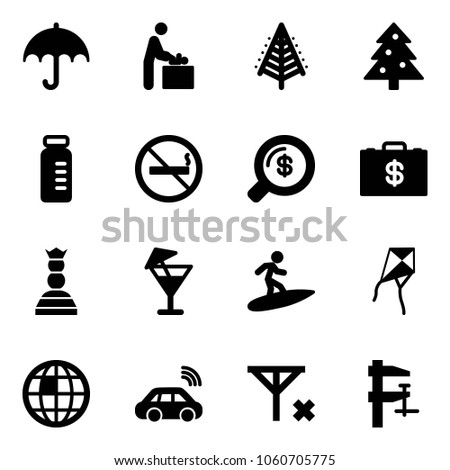 Solid vector icon set - insurance vector, baby room, christmas tree, vial, no smoking sign, money search, case, chess queen, drink, surfing, kite, globe, car wireless, signal, clamp