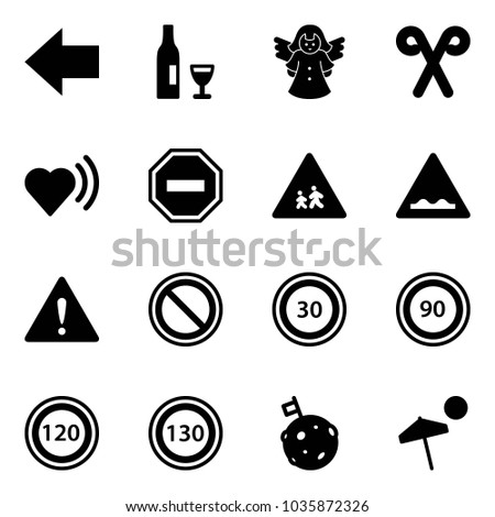 solid vector icon set   left
