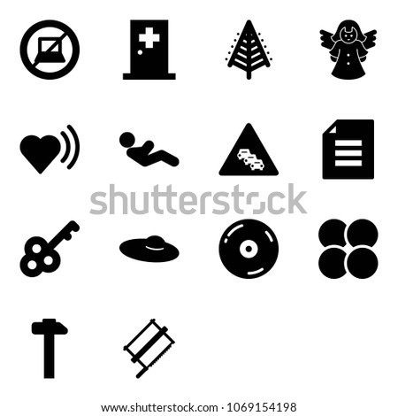 solid vector icon set   no