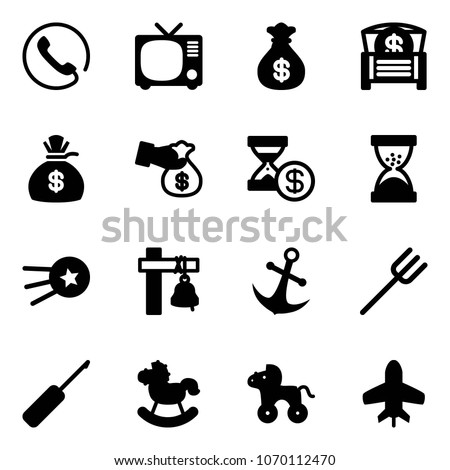solid vector icon set   phone