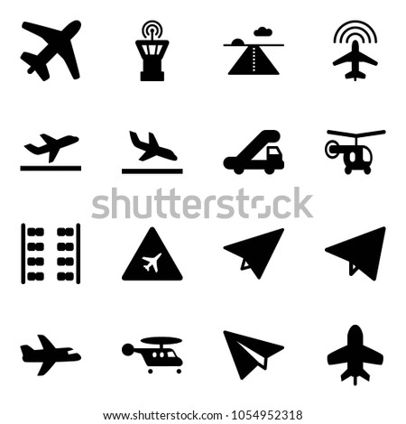 Solid vector icon set - plane vector, airport tower, runway, radar, departure, arrival, trap truck, helicopter, seats, road sign, paper, fly, toy