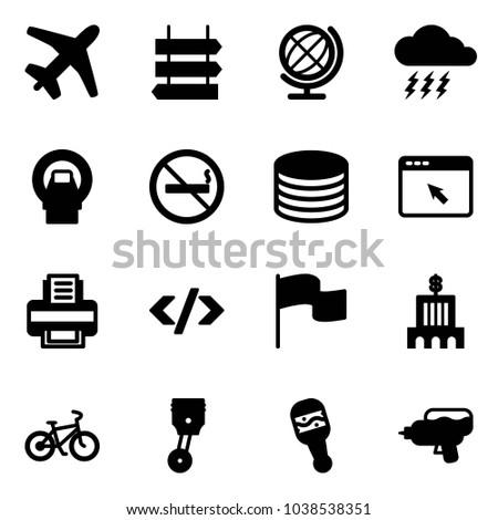 solid vector icon set   plane